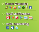 MSN, Yahoo, AIM, Google Talk, Facebook Chat, ICQ, Jabbet, MySpace IM, GMail, Yahoo! Mail, Hotmail, Facebook, Twitter, MySpace, LinkedIn, Digsby